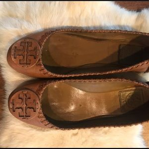 TORY BURCH Cognac Leather Whipstitch Reva Flats